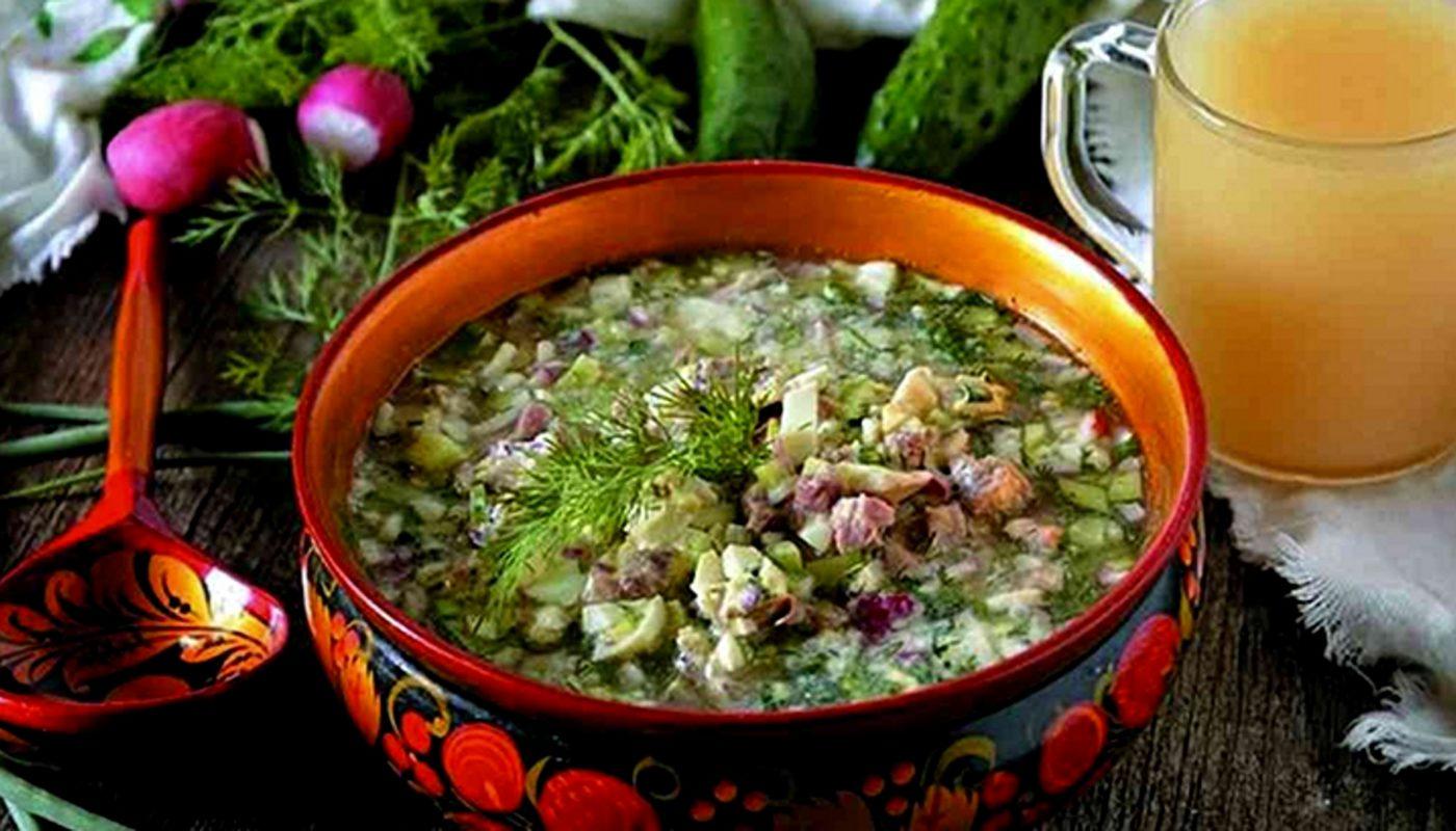 Вкусная окрошка на квасе с колбасой: ингредиенты, пошаговый рецепт с фото